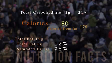 nutrição : Nutrition facts, animation, people in background