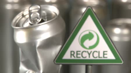 green soda can : Aluminum cans factory, recycle sign, symbol Stock Footage