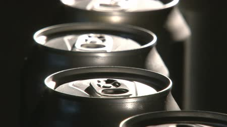 green soda can : Aluminum Cans, Industry, production line, close up