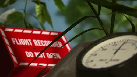 field measurements : Altimeter, Flight Recorder, Black box, shallow depth of field Stock Footage