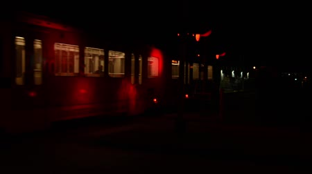 Train crossing at night with sound