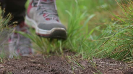 hiking : Hiking shoes Stock Footage