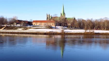 trondheim : View of Trondheim with the river in foreground