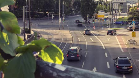 main : traffic time lapse city, darmstadt (germany) Stock Footage