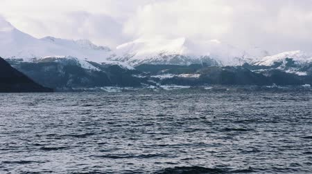 Fjord with snow mountains, norway Stock mozgókép