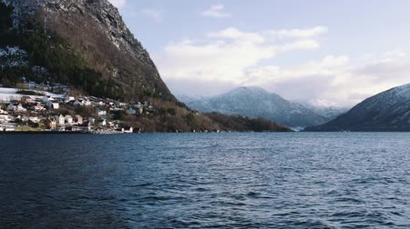 İskandinavya : Fjord with snow mountains, norway Stok Video