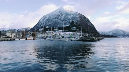 Volda at Winter with harbor and Rotsethornet