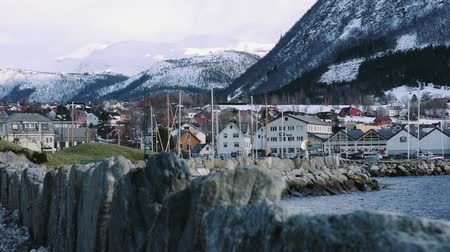 City center with harbor of Volda, norway