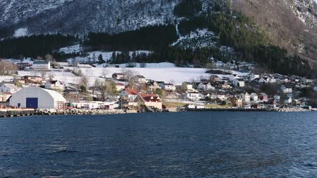 Fjord with snow landscape, Volda Stock Footage