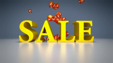 fiyatları : Sale sign with falling percentage dice end up in white. Stok Video