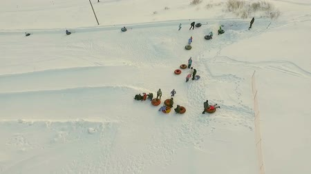 Flight above tne snow tubing track. Stock Footage
