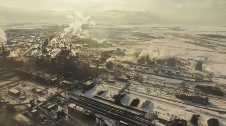 irony : Air pollution. Metallurgical plant. Top shooting.