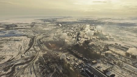 Metallurgical plant. Air pollution. Drone camera.