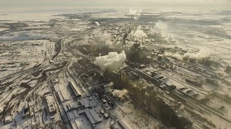 irony : Metallurgical plant. Air pollution. Stock Footage