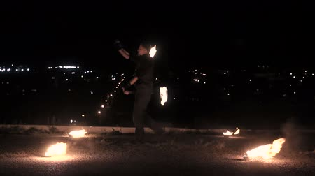 Fireshow on city background