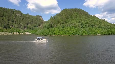 Aerial view of motor boat ride on lake. Stock Footage