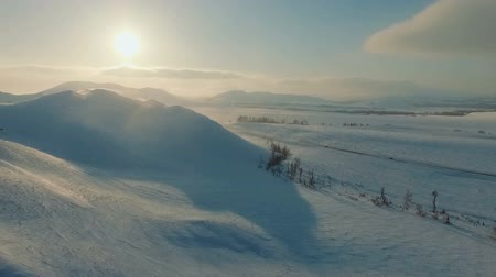 snowcapped : Winter view of mountains at the dusk. Stock Footage