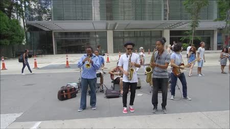 collagepeople : ARE, PAULO,, BRAZIL, January, 15 , 2016 : unidentified group of street musicians playing at the famous Paulista Avenue on Sunday
