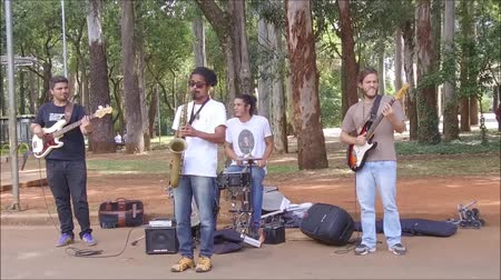 backgroundpictures : Sao Paulo, Brazil April 2, 2017: An unidentified group of people playing instruments and enjoying the weekend in the mall of trees in the famous Ibirapuera Park in Sao Paulo. Stock Footage