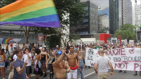collagepeople : SAO PAULO, BRAZIL - June 18, 2017: A group of unidentified people dressed in costumes and celebrating lesbian, gay, bisexual, and transgender culture in the 21 st Gay Pride Parade Sao Paulo.