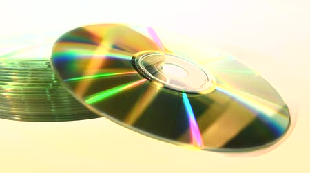 Stack of CDs, isolated, focus-out