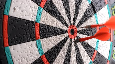 прицеливание : Playing Darts. Target hit Стоковые видеозаписи