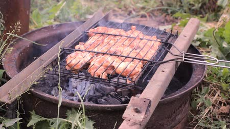 Chicken meat pieces being fried on a charcoal grill Vídeos