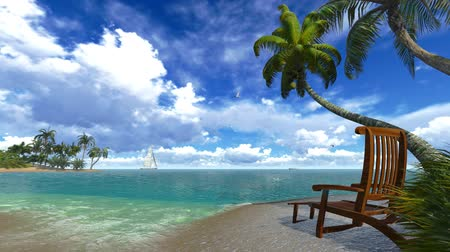 kimse : Palm trees and deckchair on a tropical beach. Sound of surf. Stok Video