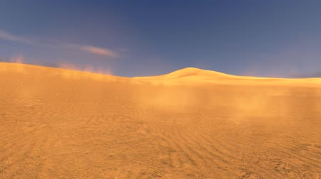 сухой : Sunset in a dunes with sand blowing