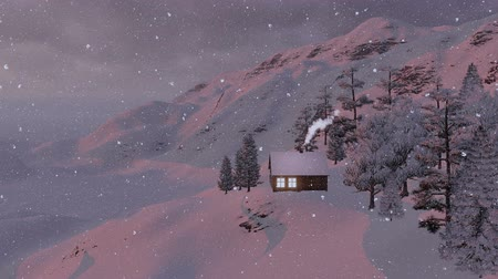 dağ evi : Snow-covered little house in the mountains. Evening view Stok Video