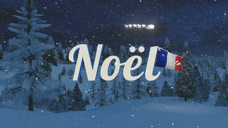 francja : Glowing Noel text, France flag and silhouette of Santa