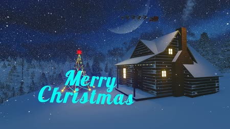 святки : Animated glowing Merry Christmas text in the christmas scenery