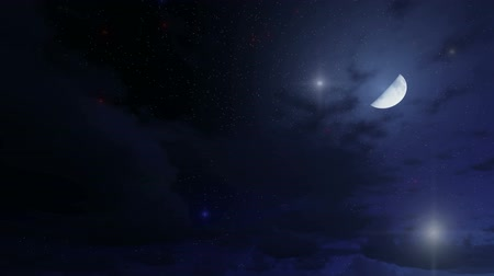 starlit : Magical night sky with stars and half moon Stock Footage