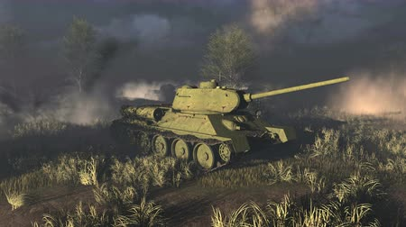 war tank : Old Russian Tanks  at the battlefield. Time of World War II Stock Footage