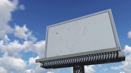 sem nuvens : Look up at the blank cartoon billboard against cloudy sky Vídeos