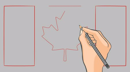 kanada : Hand drawn flag of Canada. Decorative animation. Stok Video