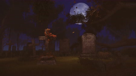 temető : Old graveyard in a time lapse from twilight to night with a big full moon