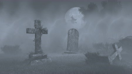 temető : Old cemetery with decaing gravestones and silhouette of witch on broomstick against big full moon
