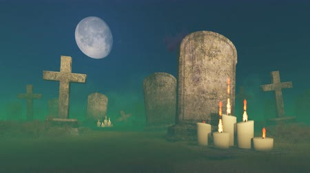 могила : Abandoned creepy cemetery under big moon with lighted candles near the old gravestone Стоковые видеозаписи