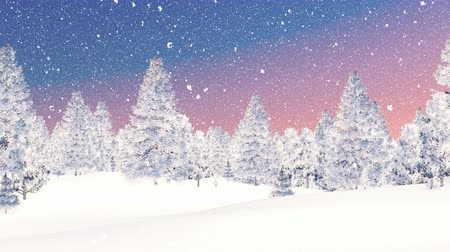 hóesés : Decorative winter scenery. Snowy firs under colorful dawn sky at snowfall