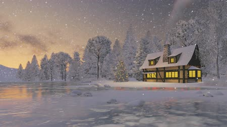 рождество : Cozy rustic house with smoking chimney and decorated Christmas tree at snowfall evening
