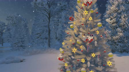 Рождественский бал : Close-up of decorated Christmas tree among snowy spruce forest at snowfall night