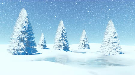 мороз : Simple decorative winter landscape with firs at snowfall
