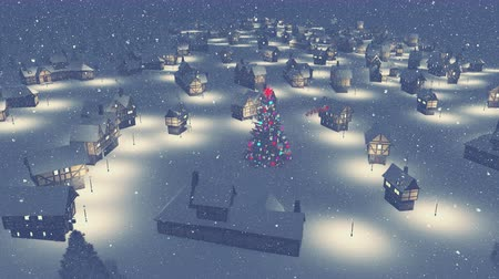 obec : Dreamlike snowy town with decorated christmas tree on its square and silhouette of Santa Claus on his sleigh at snowfall night Dostupné videozáznamy