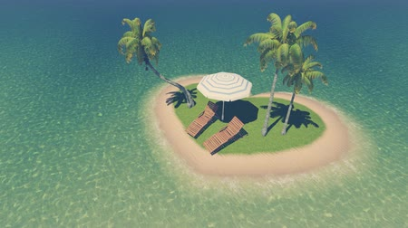 kalp şekli : Top-down view on a small heart shaped tropical island with deck chairs, parasol and palm trees among ocean