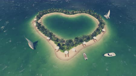 szív alakú : Romantic tropical resort with palms, deck chairs and parasols on a heart shaped island with a few yachts around it. Aerial view.
