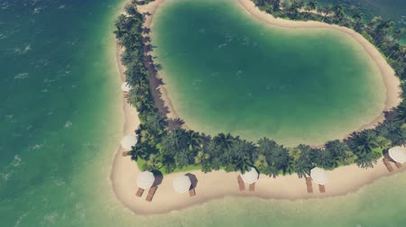 sen : Tropical resort with sandy beach, palms, deckchairs and parasols on a heart shaped island. From eye level to aerial view.