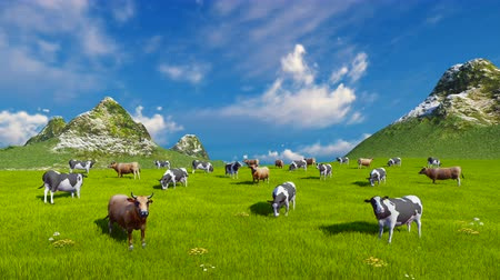 dairy animal : Farm landscape with a herd of mottled dairy cows grazing on a verdant alpine pasture