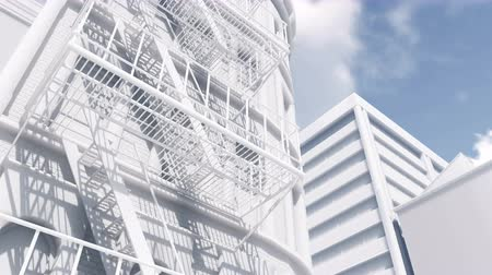 architektonický : Close up of fire escape ladder on abstract white residential building looking as architectural scale model. Decorative 3D animation.