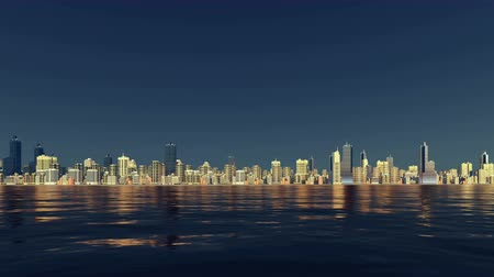 odráží : Abstract city downtown with high rise buildings skyscrapers skyline against clear dark blue sky background reflected in water at evening time Dostupné videozáznamy